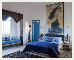 Moroccan Style Bedroom Furniture Maryam Montague Indigo Moroccan Bedroom In Elle Decor I Love The Use Of Big Poster Above Bed Style Furniture