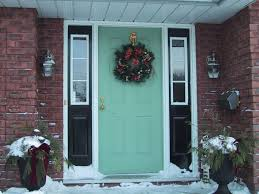 exteriors chic rectangle green painted wood excellent front door with red brick structure wall and