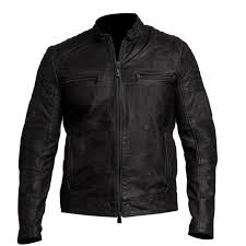 2016 new mens biker vintage distressed black cafe racer leather jacket j4jacket