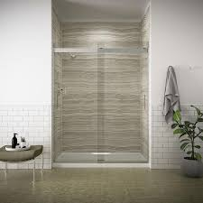 kohler levity 56 625 in to 59 625 in w frameless bright silver sliding shower door
