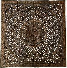 large square wood carved fl wall