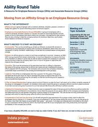 abillity round table moving from affinity group to erg