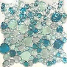 mosaic bathroom sink blue iridescent random pattern glass tile kitchen s undermount sinks round bubbles custom