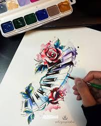 фото эскизы клавиши в стиле авторский акварель графика лайнворк