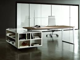 combined office interiors desk. Terrific Modern Office Desk Nuanced In Clean White Combined With Chic Swivel Chair And Unique Table Interiors K