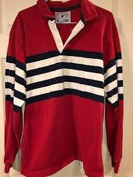 mens 90s vtg lands end striped color block rugby shirt polo made usa m red blue