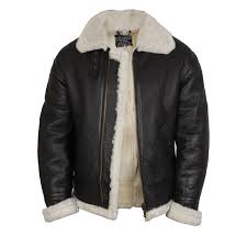 men s real shearling sheepskin leather flying jacket aviator
