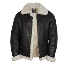 men s real shearling sheepskin leather flying jacket aviator