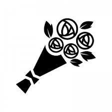 バラの花束のシルエット02 無料のaipng白黒シルエットイラスト