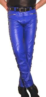 designer leather pants blue new leather trousers new side lacing lederhose