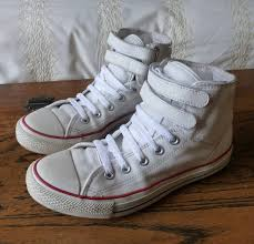 white leather converse all star high top trainers size 6 vgc 2 velcro