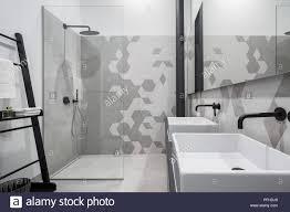 Neues Design Badezimmer Mit Dusche Und Zwei Waschbecken In Grau Und