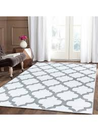 trendy without border white area rug