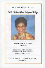 Funeral Program for Hattie Pearl Bryant Hodge, March 16, 2009] - The Portal  to Texas History