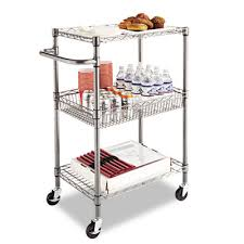 alera stacking chair dolly alera reg wire shelving three tier rolling cart