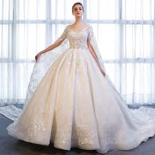2018 Designer Gown Us 523 6 30 Off Sl 173 Designer Long Sleeve V Neck Bridal Ball Gown With Wrap Lace Wedding Dress 2018 In Wedding Dresses From Weddings Events On