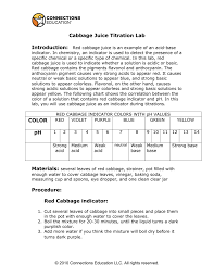 Red Cabbage Juice Indicator Chart Intro Red Cabbage Juice Is An Example Of An Acid Base