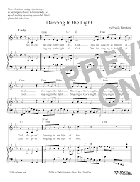 In The Light Sheet Music Dancing In The Light By Sheila Firestone Piano Vocal Guitar Right Hand Melody Digital Sheet Music