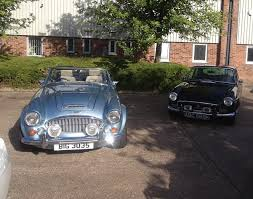 british classics like the hmc healey and mgb gt pictured are popular with hirers explains