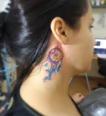 Dream Catcher Tattoo Behind Ear Dream Catcher Neck Tattoo Pictures To Pin On Pinterest TattoosKid 65