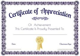 Certificate Of Appreciation Template Certificate Of