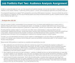 Job Portfolio Part Two Audience Analysis Assignme Chegg Com