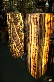wonderful pair of onyx pedestal floor lamps in excellent condition for in new york