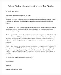 College Recommendation Letter For Student College Recommendation Letter From Teacher Writing A For Student