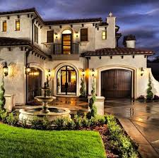 exterior of house design. mediterranean exterior of home with pathway, fountain, stone floors house design