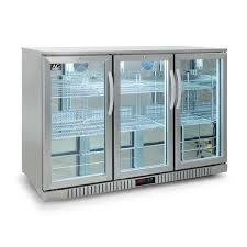 three door stainless steel bar fridge