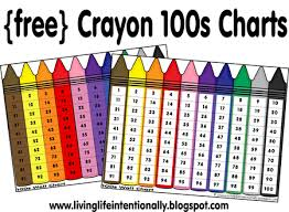 Free Crayons Colors 100s Chart Printables