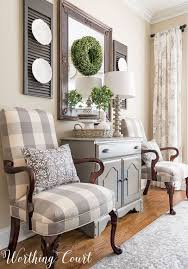 farmhouse dining room makeover martha washington style chairs recovered with gray and white buffalo check fabric