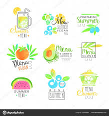 夏ベジタリアン メニューのロゴのデザインを設定しますカラフルな