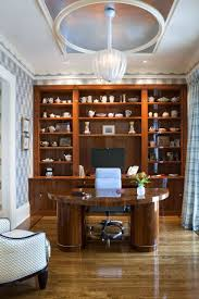 eclectic home office. 70 Creative Obligatory Cherry Kitchen Cabinets In Eclectic Home Office With Built Shelves And Crown Molding Also Window Treatment Wood Floor Plus Pendant