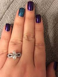 Purple And Teal Nail Designs Loving My Peacock Nails Dark Purple With Teal Glitter