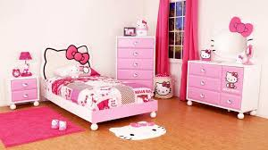 Hello Kitty Bedroom In A Box With Cute Headboard Design And Pink White  Color Also Wood Floor Laminate And Square Area Rug Plus Vanity Mirror  Shaped And ...