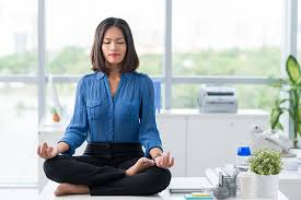 meditation office. meditation in office stock photo c
