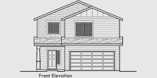 house front color elevation view for 10125 4 bedroom house plans 30 wide house plans