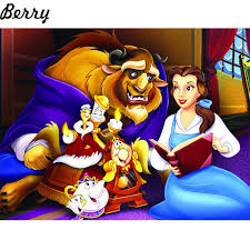 5pcs diy diamond embroidery beauty and the beast full 5d diamond painting cross stitch mosaic crafts