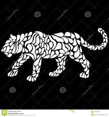 силуэт идя белой пантеры в стиле татуировки иллюстрация вектора