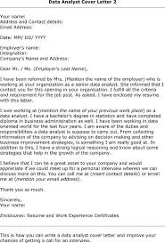 Cover Letter Template Data Analyst Analyst Cover