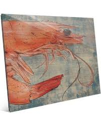 >on sale now 18 off click wall art big shrimp looking right  click wall art big shrimp looking right nautical painting print on glass bhs0000607gls size
