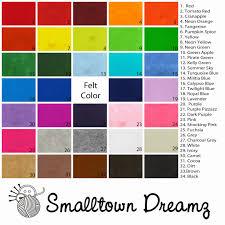 Smalltown Dreamz Felt Color Chart