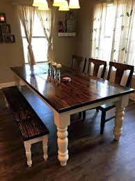farmhouse dining table with bench seating chairs best long ideas on for kitchen sets and set