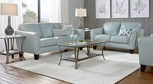 living room set. Livorno Aqua Leather 3 Pc Living Room Set