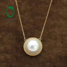 2019 caimao 14k yellow gold 14mm round white mabe pearl pendant included the chain for anniverary from hongshaor 567 04 dhgate com
