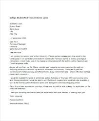Part Time Cover Letters Cover Letters That Worked College Student Part Time Job Cover Letter