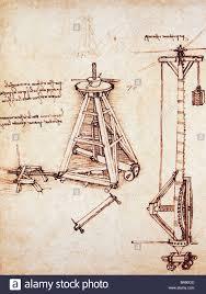 technical drawing lifting of column by leonardo da vinci