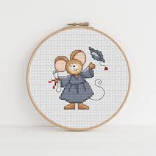 Furry Tales Graduate Mouse Cross Stitch Pattern