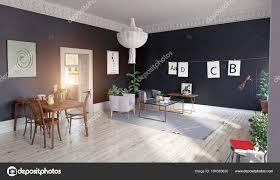 Moderne Woonkamer Interieur Met Zwarte Muren Witte Houten Vloer
